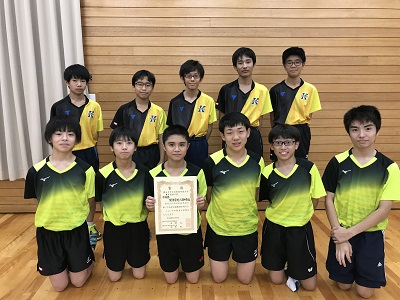 中学卓球部 横浜市大会準優勝