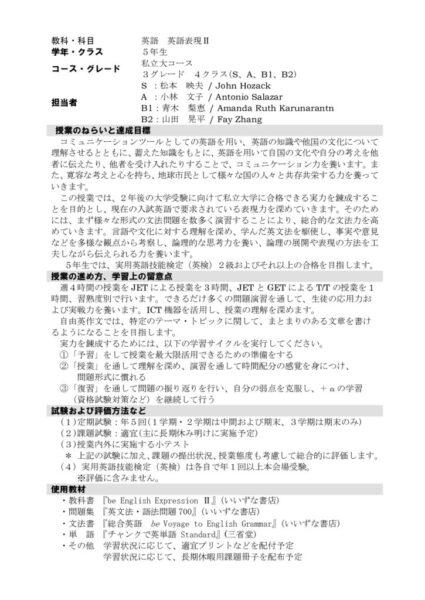 2021年度5年英語表現Ⅱ(難関)